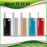 Wholesale Silver Variable - Original Mjtech 5S VV Vaporizer Starter Kits Preheat 5SVV 2 in 1 650mah Wax Thick Oil Variable Voltage Box Vape Kit 100% Genuine