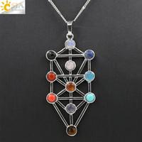 Wholesale Prayer Charm Pendant - CSJA Yoga Prayer Amulet Symbol 7 Chakra Pyramid Healing Point Dowsing 11 Stone Beads Reiki Charm Pendulum Jewelry Pendant Necklace Gift E040
