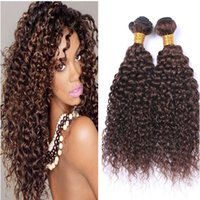 Wholesale chestnut brown hair weave for sale - Brazilian Human Hair Bundles Deep Wave Brown Hair Weft High Quality Products Deep Curly Chestnut Brwon Hair Weaves
