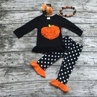 Wholesale Girls Necklace Outfits - Wholesale- girls halloween boutique outfits girls Halloween pumpkin clothes kids winter white polka dot pant sets with necklace and bows
