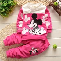 Wholesale 18 Month Girl Sweater - 2017 new children baby clothing sets 100% cotton Sweater T shirt+pants 2pcs clothes suit cartoon Minnie&Mickey kids sport sets