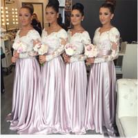 vestido de dama de honor de color morado claro al por mayor-Cariño apliques largos y elegantes vestidos de dama árabe del honor Manga larga de color púrpura claro Blusa de encaje Vestidos de dama de honor