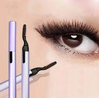 Wholesale Eyelash Curler Heated - Mini Pen Style Electric Long Lasting Heated Long Lasting Eyelash Eye Lashes Curler Clip Makeup Eye Lashes Curler Eye Makeup Beauty Tools