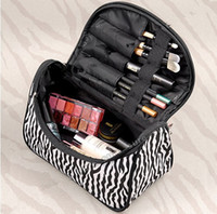 Wholesale Zebra Cosmetic - Wholesale 3 pics Fashion Portable Multifunction Makeup Cosmetic Bags for Women Zebra Style Stripe for Travel zipper pouch canvas