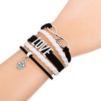 Wholesale Pink Evil Eye Bracelets - Multilayer Braided Bracelet With Love Evil Eye in Hamsa Hand & HOLY BJBLE Pendant Pink and White Adjustable Leather Bracelets