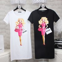 Wholesale Barbies Dolls Dresses - High Quality 2017 New Fashion Women European style spring barbie doll print T-Shirt short sleeve o-neck t-shirt dress casual cotton women to