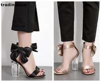 Wholesale Thick Satin Wedding Dresses - Sexy bridal wedding shoes black champagne satin bowtie PVC transparent thick high heels 2 colors size 35 to 39