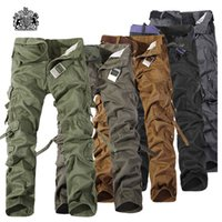 Wholesale mens multi pocket cargo pants - Wholesale-2016 Top Fashion Multi-Pocket Solid Mens Cargo Pants Good Quality Plus Size Men Trousers Size 28-42
