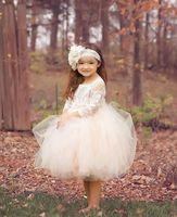 Wholesale Short Cream Wedding Dresses - 2017 Cream Boho Ball Gown Cute Short Flower Girls Dresses Sheer 3 4 Sleeves Knee Length Puffy Tulle Girls Birthday Pageant Communion Gowns