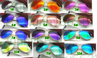 Wholesale Coloured Lenses - MOQ=10PCS summer women metal Dazzle colour Sunglasses Driving glass cycling glasses men BEACH Sun glasses pink RESIN LENS A++ free ship