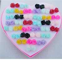 Wholesale Earring Box Heart - 36pairs lot Mix Colors Plastic Resin Rose Flower Stud Earrings For Kids Girls Friendly Jewelry With Heart Box