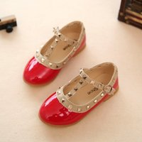 Wholesale Elegant Girls Shoes - 4 Colors Baby Girls Rivet Leather Shoes 2017 Spring Kids Girl Elegant PU Shoes Princess Low-heeled Shoes Children Wedge Sandals Size 21-36