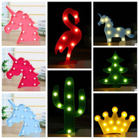 37 Styles Baby INS 3D LED Unicorn Lampada da tavolo con luce diurna Decorazioni natalizie Romantico Bambini Flamingo Pineapple Light Party Decor CCA7634 100 pezzi