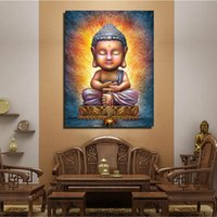One Panel paint a picture frame - Canvas Single Wall Art Painting A Buddha with eyes closedno picture Frame Prints Oil Painting Modern Art Paint