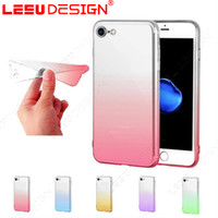 Wholesale Soft Camera Pouches - For iphone 7 plus case silicone ultra thin transparent cover gradient colourfull case tpu soft case Protection camera