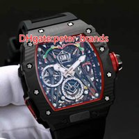 Wholesale Fibre Case - New style Carbon fibre black case fashion luxury 50 watch automatic 03 black rubber strap mens wristwatch tonneau brand watches