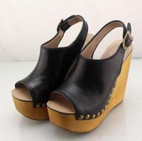 Wholesale black studded platforms - Jeffrey Campbell Open Toe Platform Wedge Sandals Snick Studded high-heeled sandals genuine leather vintage rivet sandals clogs female