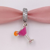 Wholesale Holidays Cocktails - Authentic 925 Sterling Silver Beads Fruity Cocktail Pendant Charm Charms Fits European Pandora Style Jewelry Bracelets & Necklace 792153ENMX