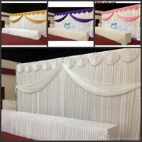 Wholesale Cake Table Swags - 10ft*20ft White color ice silk Wedding Backdrop Curtain With Swags gold drape Luxury Wedding Props Satin Drape curtain party decoration
