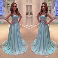 Wholesale ice blue party dresses for sale - Group buy 2017 New Ice Blue Two Piece Prom Dresses Scoop Neckline Cap Sleeves Lace A Line Chiffon Evening Dresses Special Occasion Party Gowns