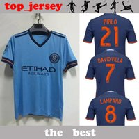 Wholesale Men Shirts Mix Cotton - Top quality New York City jersey 2017 2018 DAVID VILLA LAMPARD MIX home blue away black men shirt New York City soccer jersey
