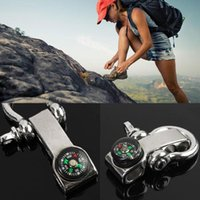 Wholesale Stainless Bracelet Shackle - Silver Stainless Steel Climbing Buckle Multifunction Adjustable Buckles Paracord Bracelet Shackle Camping Survival Carabiner with Compass