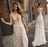 Wholesale Up Skirt Photos - 3D flora appliques beaded sexy sheer sequin lace wedding dresses 2018 berta bridal sleeveless deep plunging v neck sweep train
