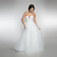 vestidos de red suave al por mayor-Sweetheart Tulle a-Line vestido de novia tiene 6 capas de red suave con un vestido de novia de blusa con cuentas completa