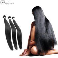 Wholesale Extention Brazilian Human Hair - Avejoice 7A Unprocessed Mongolian Virgin Hair Straight Cheap Human Hair Weaves Brazilian Peruvian Straight Virgin Human Hair Extention