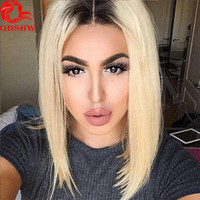 Wholesale Indian Full Lace Wigs Wholesale - Blonde Bob Lace Wig For White Women Glueless Virgin Brazilian Hair Ombre 1B Blonde Bob Wigs Short Lace Front Blonde Wigs Dark Roots