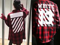 Wholesale Pyrex Long Sleeve - 2017 fashion trend OW Pyrex Twill Printing England flannel extended Red plaid long-sleeved shirt high quality Shirt