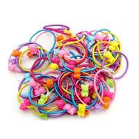 пластиковые пакеты оптовых-Оптовая продажа-мода зажим для волос с конфеты цвет для волос оголовье детские Сумки Пластиковые резинкой 50 корень для детей девочек топ продажа