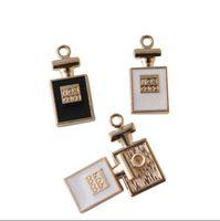 Wholesale Wholesale Perfume Bottle Charms - Free Shipping 10pcs Zinc Alloy No.5 Perfume Bottle Floating Enamel Charm Pendant Female Necklace Bracelet Jewelry DIY Accessories 11*23mm