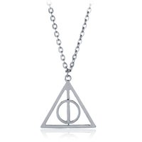 Wholesale film characters - Silver gold rotatable Deathly Hallows Pendant Necklace rotatable Deathly Hallows jewelry for movie film fans Drop Ship 162224