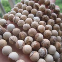 Wholesale 6mm mm mm Matt Natural Stone beads Brown Beads Map style string about cm