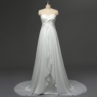 Wholesale Designer White Ivory Chiffon Beach - In Stock Sexy Beach Wedding Dresses Strapless Chiffon Embroidery Ruffles Empire Sweep Train Bohemian Designer Bridal Gowns