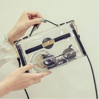 Wholesale clear transparent handbags totes - New Transparent jelly Handbag transverse clear platinum Summer beach bag small tote shoulder crossbody bags for women Li195