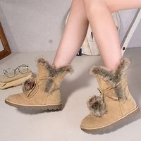Wholesale Snow Fashion For Women - Wholesale- Hot! Big size 35-43 Womens Winter Shoes New 2016 Warm Ankle Snow Boots For Women Fashion Fur Ball Casual Flat Boots Botas O1791