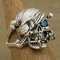 Anneaux De Pierre Pirates Pas Cher-LINSION 925 Sterling Silver Pirate Skull Ring Rose Blue CZ Stone Mens Biker Rock Punk Style 9W101 US Taille 7 à 15