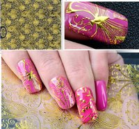 Wholesale Glue Metallic Nails - Embossed 3D Golden Metallic Nail Stickers Gold Foil Blooming Flower Design Self-adhesive Nail Art Stickers Decals with glue