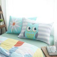 Wholesale Wholesale Owl Pillow - Wholesale- 100% Cotton Flower And Owl Pillow Case 2Pcs Home One Pair Diagonal Printing Brief Style Pillow shams 48x74cm