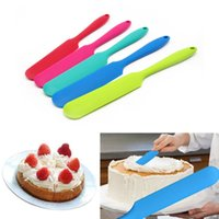 Wholesale Silicone Mixer - 1 x Silicone Batter Spatula Cake Cream Mixer Long Handled Models Baking Scraper Random Color