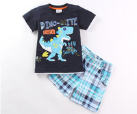 Wholesale big boys outfits - new European and American style Baby boys short sleeve shorts two-piece outfit Children summer suit big and tough Hot batch cartoon cloth