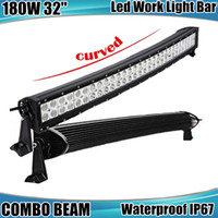 Wholesale Roof Light Bar For Trucks - 32 Inch 180W High Power Curved LED Light Bar For Boat Off-road Truck Jeep Ford Tractor Trailer 4WD SUV Combo Beam Work Fog Roof Driving Lamp