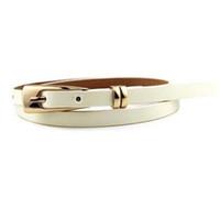 skinny girl leather UK - Wholesale- Women Lady Girl Skinny Waist Belt Thin Leather Narrow Waistband as gift white