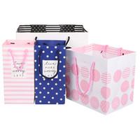 Wholesale Paper Bag 24 - Wholesale-20pcs lot 24*12*10cm Cartoon Pattern Flower Design Birthday Paper Bag for Wedding Paperboard Hand Bag Gift Package Paper Bag