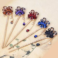 Wholesale Order Wholesale China - Brand new Peacock national wind alloy diamond mosaic drip oil retro style hairpin tassel step shake FZ016 mix order 20 pieces a lot