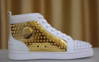 Sinal de luxo Paris Loubs Red Bottom Sneakers Masculino Flat Spikes White Gold Leather Sneakers Shoes High Quality Wholesale Store 36-46