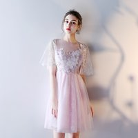 Wholesale Butterfly Robes - Bridesmaid Dresses SSYFashion New Bride Banquet Sweet Pink Lace Butterfly Speaker Sleeves Short Formal Party Gown Robe De Soiree