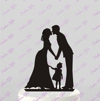 Wholesale Wedding Topper Silhouette - Wholesale-Personalized Design Wedding Party Decoration Wedding Cake Topper Silhouette Groom and Bride with little Girl Wedding Cake Stand